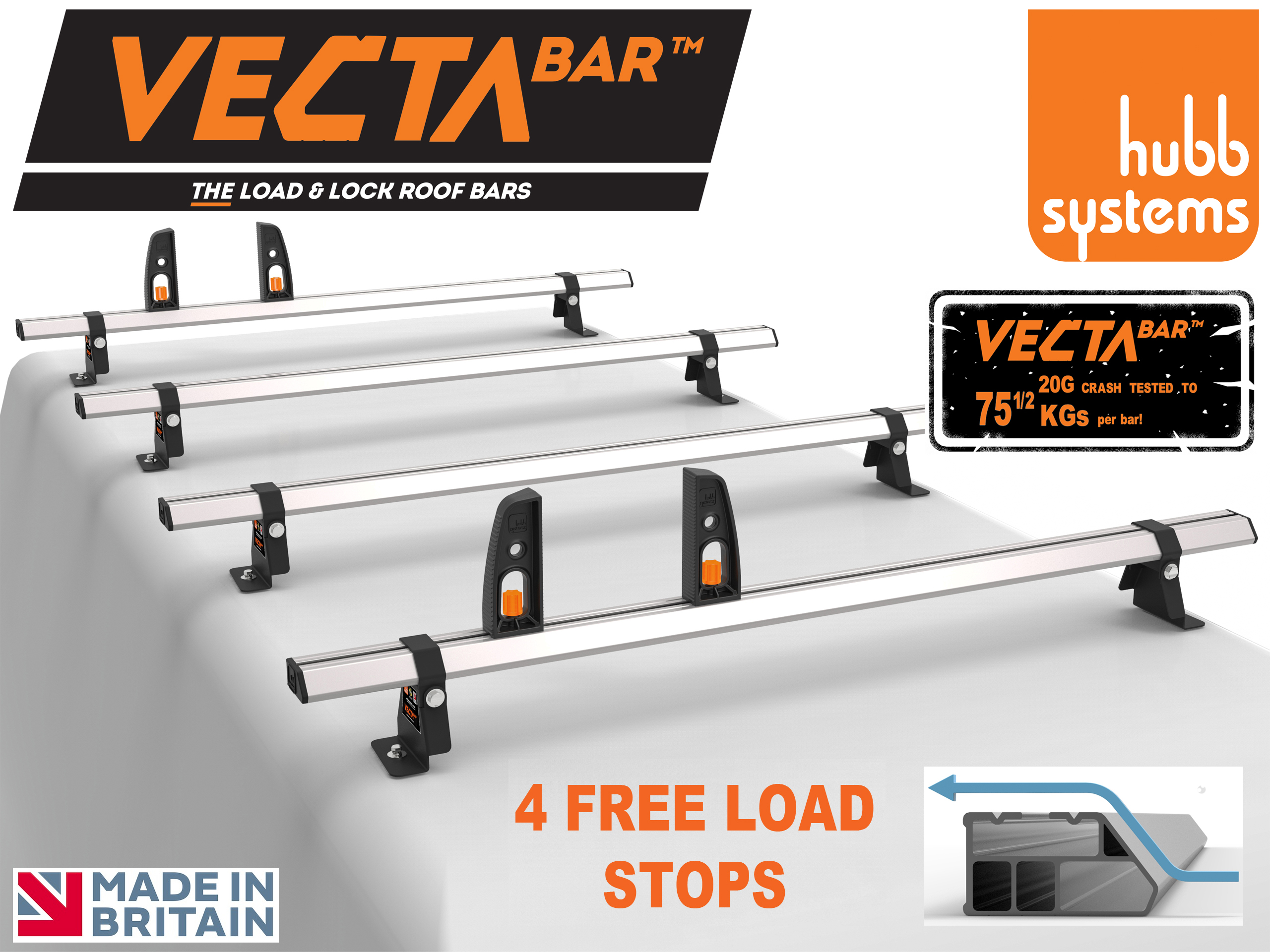 Renault Trafic 2002-2014 H1/H2 VECTA BAR 4 Roof Bars & 4 Load Stops HS45-46-A/HS38-44