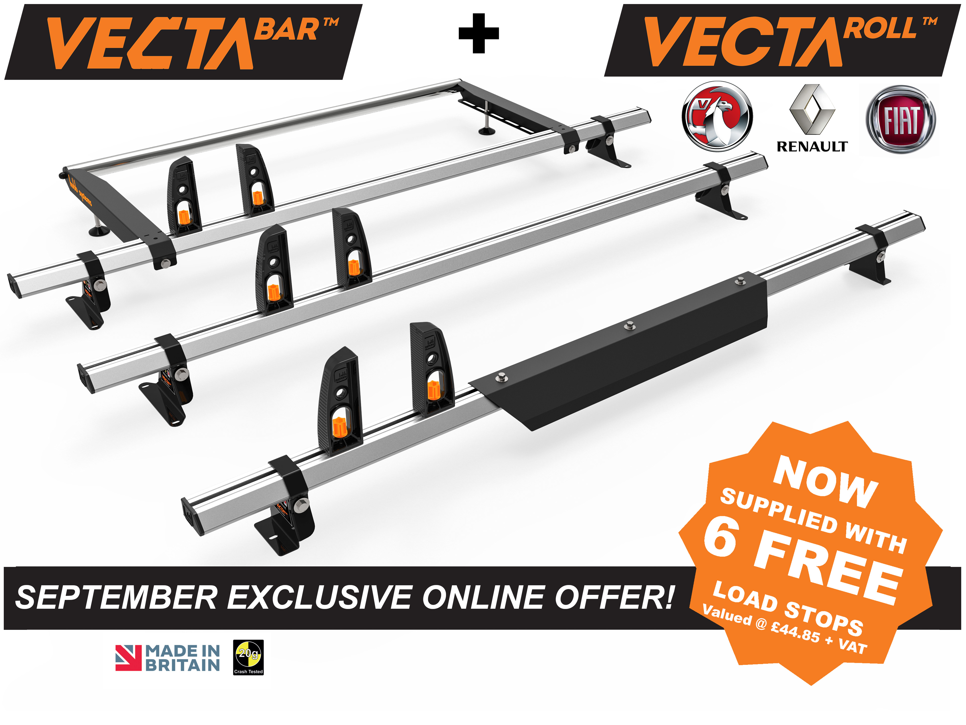 Fiat Talento 2015+ L1/L2 H1 VECTA Bar 3 Roof Bars + Rear Roller + Wind Deflector + 6 Free Load Stops - Special Offer
